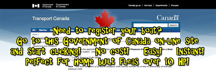 CLICK HERE TO GO TO THE GOVERNMENT OF CANADA BOAT REGISTRATION SITE